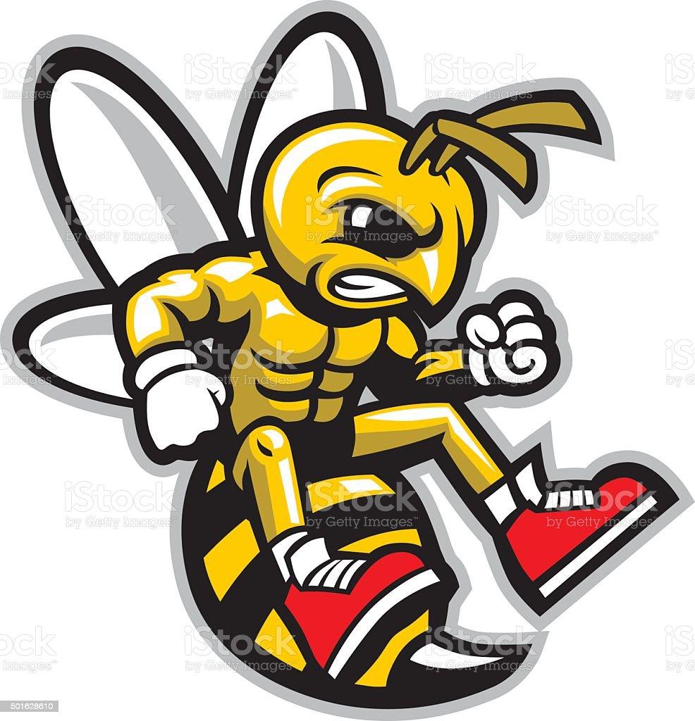hornet mascot vector art illustration