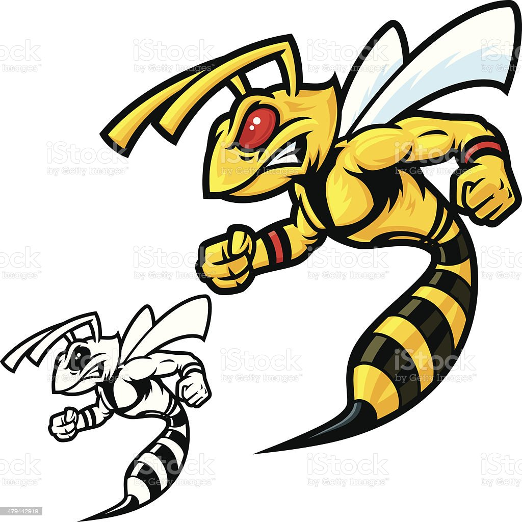 Hornet Mascot Vicious vector art illustration