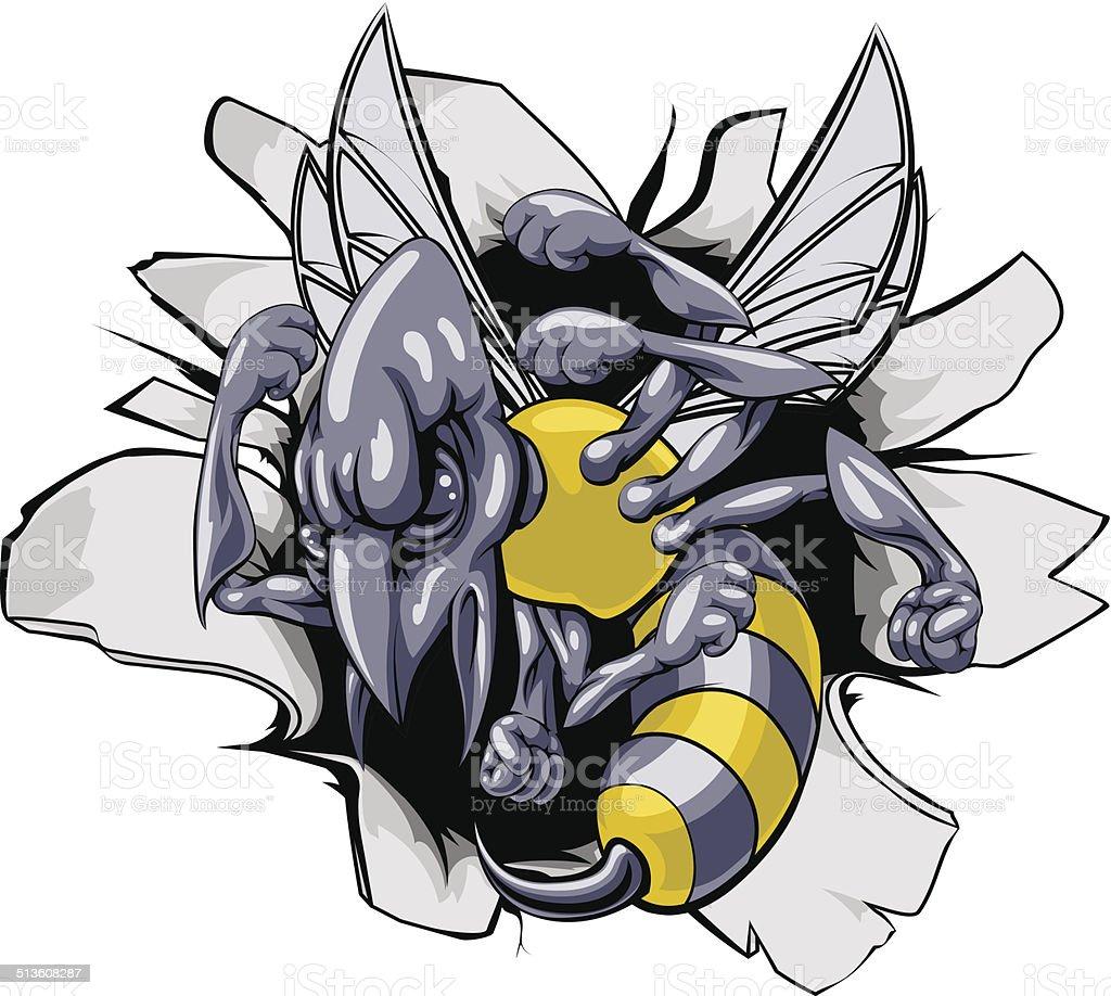 Hornet or wasp breaking through wall vector art illustration