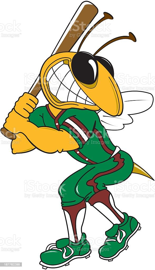 Hornet Playing Baseball vector art illustration