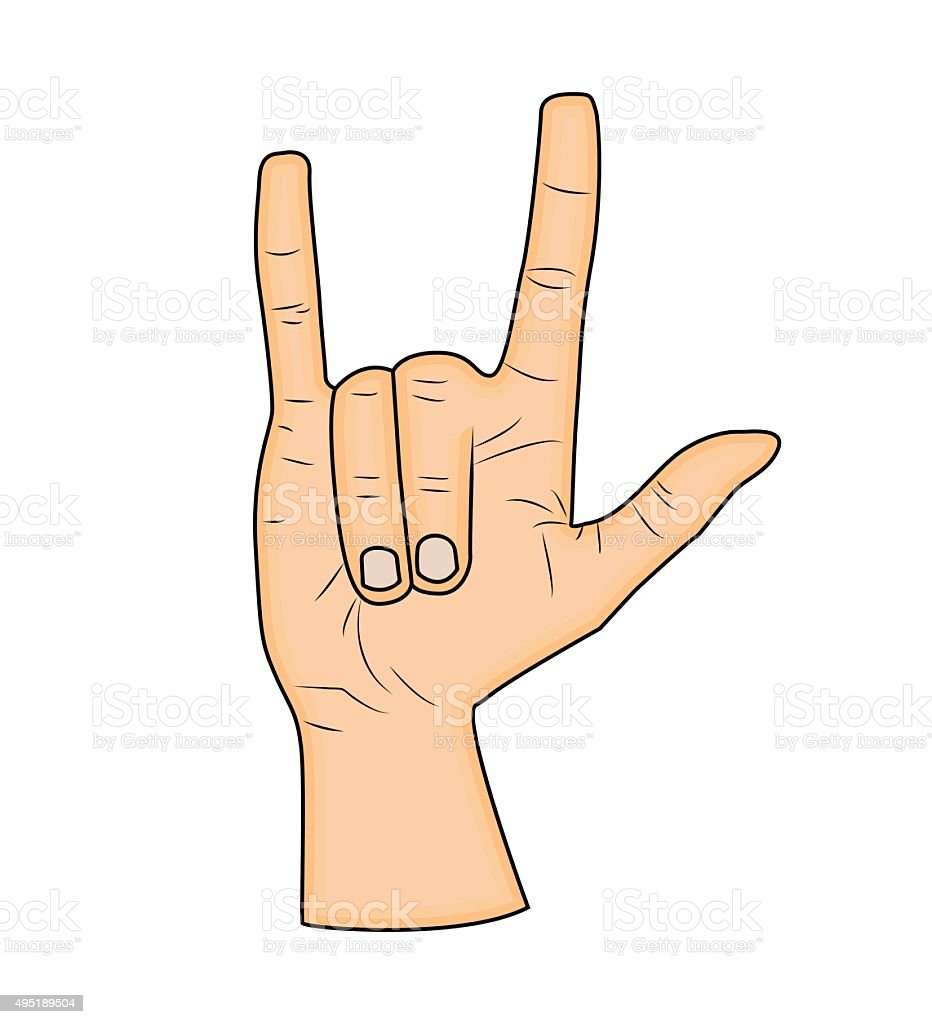 Horns Hand Satan Sign Finger Up Gesture Stock Vector Art More