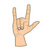 Horns hand, satan sign finger up gesture.