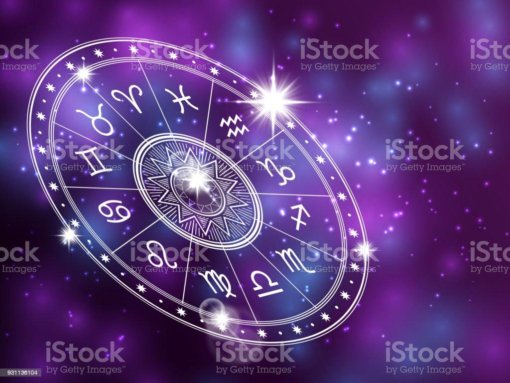 Cercle d'horoscope sur backgroung brillante - toile de fond l'espace avec le cercle blanc de l'astrologie - Illustration vectorielle