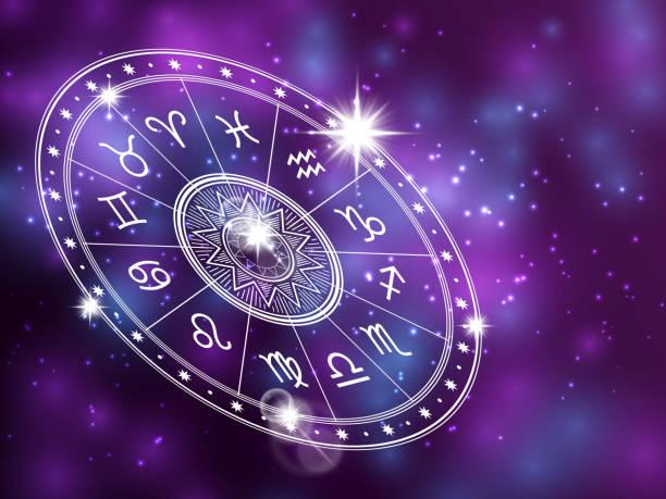 ilustrações de stock, clip art, desenhos animados e ícones de horoscope circle on shiny backgroung - space backdrop with white astrology circle - astrologia