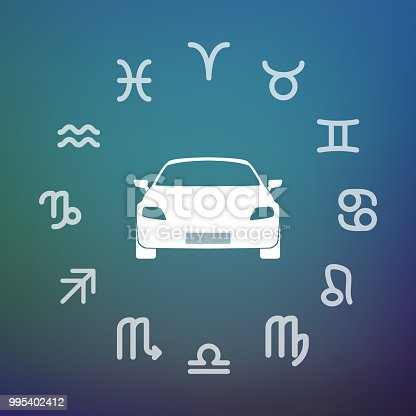 Horoscope signs circle with a car