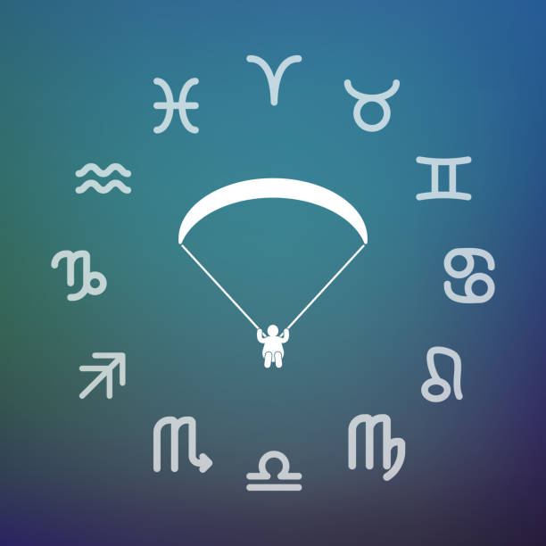 ilustrações, clipart, desenhos animados e ícones de círculo de horóscopo com um parapente - ícones de design planar