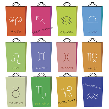 Horoscope signs on 12 shopping bags.
