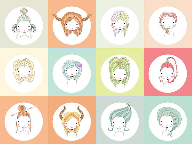 Horoscope signs with girls vector art illustration