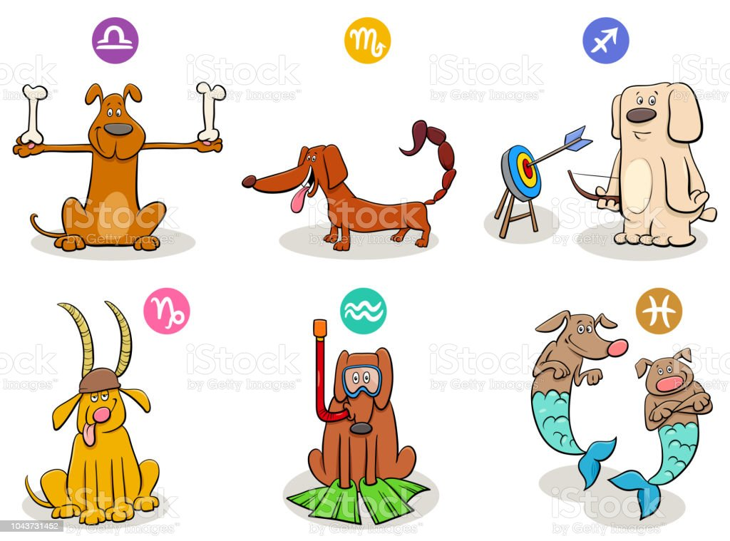 Horoscope Zodiac Signs Set With Funny Dogs Stock