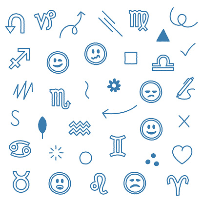 Horoscopes & Zodiac Signs Seamless Doodle Pattern