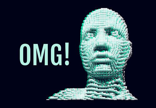 OMG! Horrible, stress, shock. Human emotions, facial expression concept.
