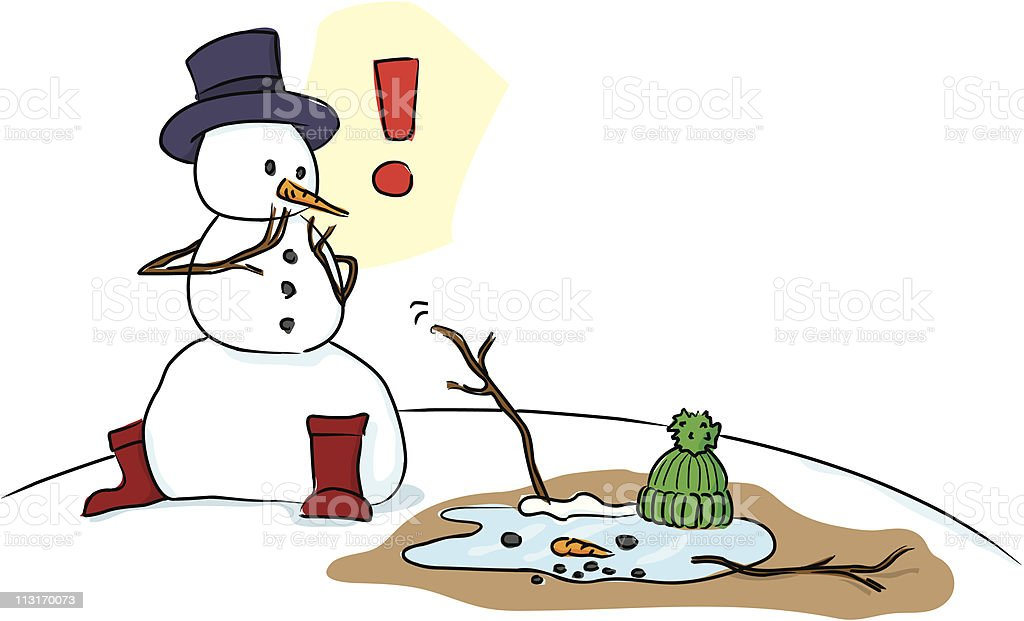 Horrified Snowman with melted peer royalty-free stock vector art