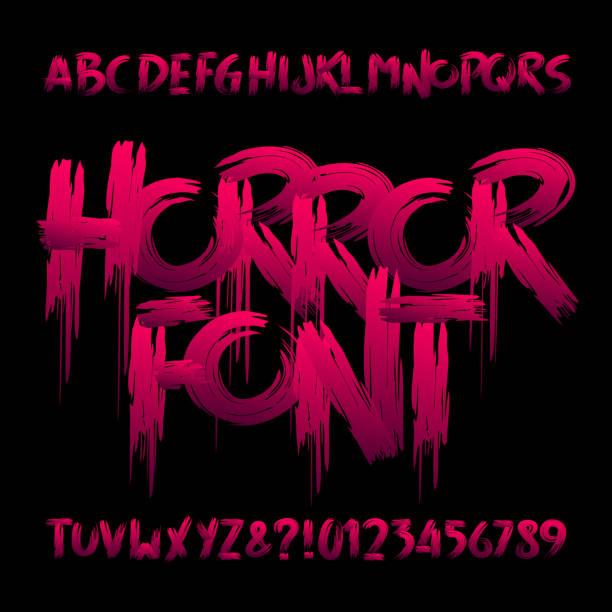illustrazioni stock, clip art, cartoni animati e icone di tendenza di horror alphabet font. uppercase handwritten bloody letters and numbers. - orrore