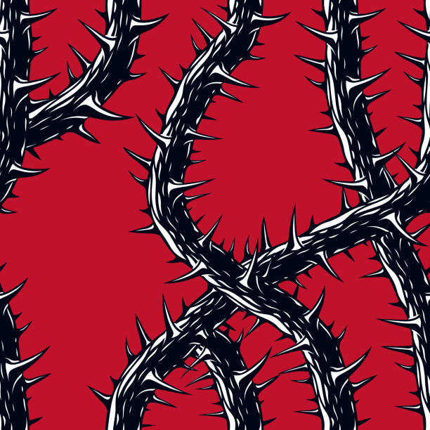 horror kunst stil nahtloses muster, vektor hintergrund. blackthorn zweige mit dornen stilvolle endlose abbildung. hard rock und heavy metal subkultur musik mode stilvolle textildesign. - punk stock-grafiken, -clipart, -cartoons und -symbole