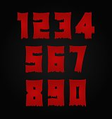 Horror bloody, scary number set. Insane Fear brutal, scream font. Wicked night theme style design