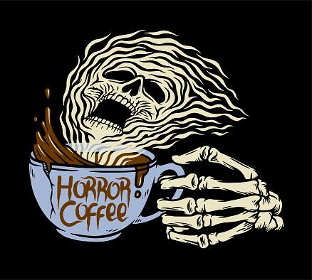 Horror Coffee hand drawn Illustration