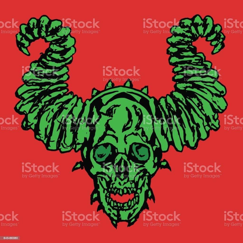 Horror demonic skull with horns. Vector illustration. vector art illustration
