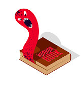 Horror fiction book with creepy creature monster getting out of pages vector illustration 3d isometric, literature concept, thrilling reading concept.