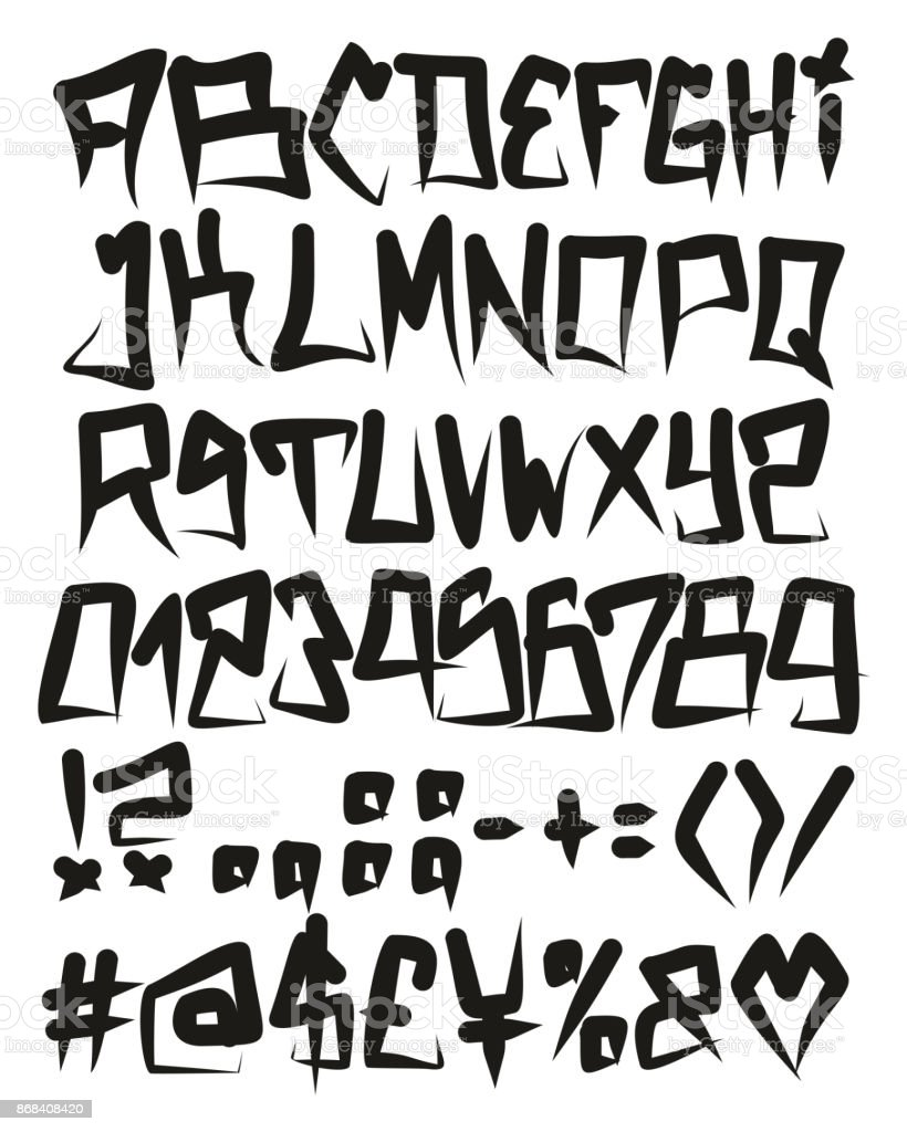 Horror Graffiti Fat Cap Freehand Vector Font With Uppercase Letters