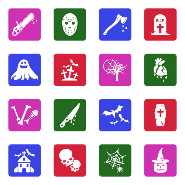 horror icons. white flat design in square. vector illustration. - vegetable blood stock illustrations, clip art, cartoons, & icons