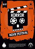 istock Horror movie festival. Cinema vintage poster with skull. Vector cartoon illustration. Banner design template. 1223174655