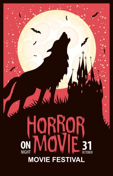 illustrazioni stock, clip art, cartoni animati e icone di tendenza di horror film festival spaventoso cinema poster - thriller