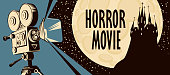 Horror movie poster. Vector illustration with an old movie projector and an ominous castle on the background of a full moon. Scary cinema. Suitable for poster, banner, flyer, ticket, invitation