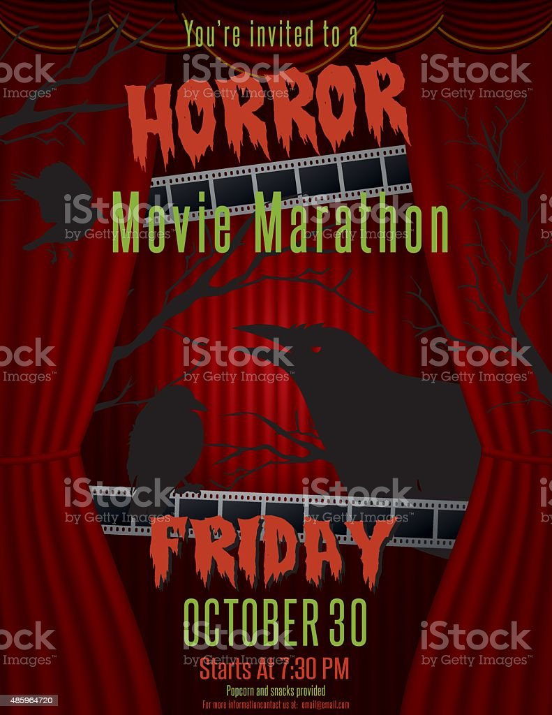 Horror Movie Marathon Party Invitation Template Stock Vector Art