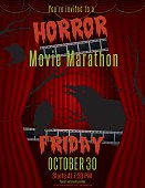 Horror Movie Marathon party invite template. Several layers to make it easier to edit. Includes two layers of stage curtains, elements on another layer. Text on top layer. Would be a great base for a Halloween party as well. Perfect for party games night as well as a scary movie night flyer.