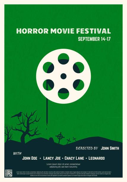 illustrazioni stock, clip art, cartoni animati e icone di tendenza di poster del film horror - thriller