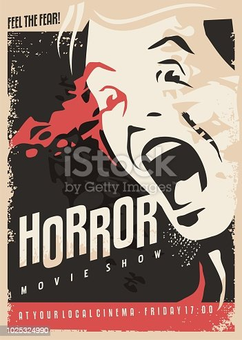 Horror movie show retro cinema poster design with scared man screaming and lots of blood on dark background. Scary night scene vector illustration.