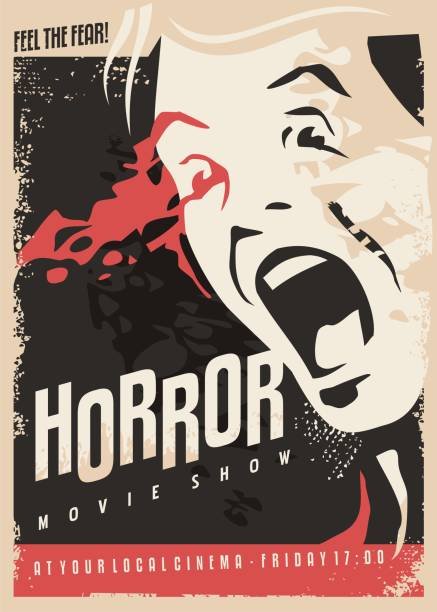Horror movie show retro cinema poster design Horror movie show retro cinema poster design with scared man screaming and lots of blood on dark background. Scary night scene vector illustration. shock stock illustrations