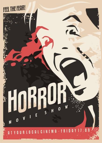 ホラー映画は、レトロな映画ポスター デザインを表示します。 - 恐怖点のイラスト素材/クリップアート素材/マンガ素材/アイコン素材