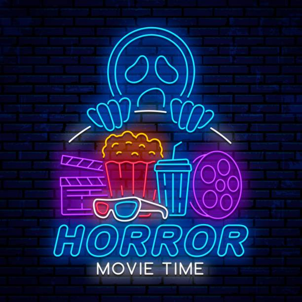 Horror movie time. Night neon sign. Horror movie time, night neon sign, ad, poster, billboard for cinema, isolated on brick wall background. Vector glowing logo, emblem, icon, sign for cinema. muziekfestival stock illustrations