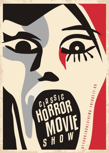 Horror movies poster design Horror movies poster design with dreadful face screaming. Cinema poster for scary movies classical show. Cubism style artistic vector illustration. shock stock illustrations
