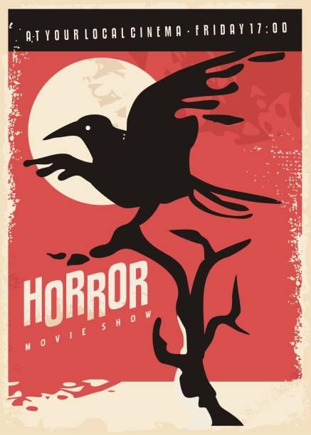 illustrazioni stock, clip art, cartoni animati e icone di tendenza di film horror design poster retrò con corvo nero - thriller