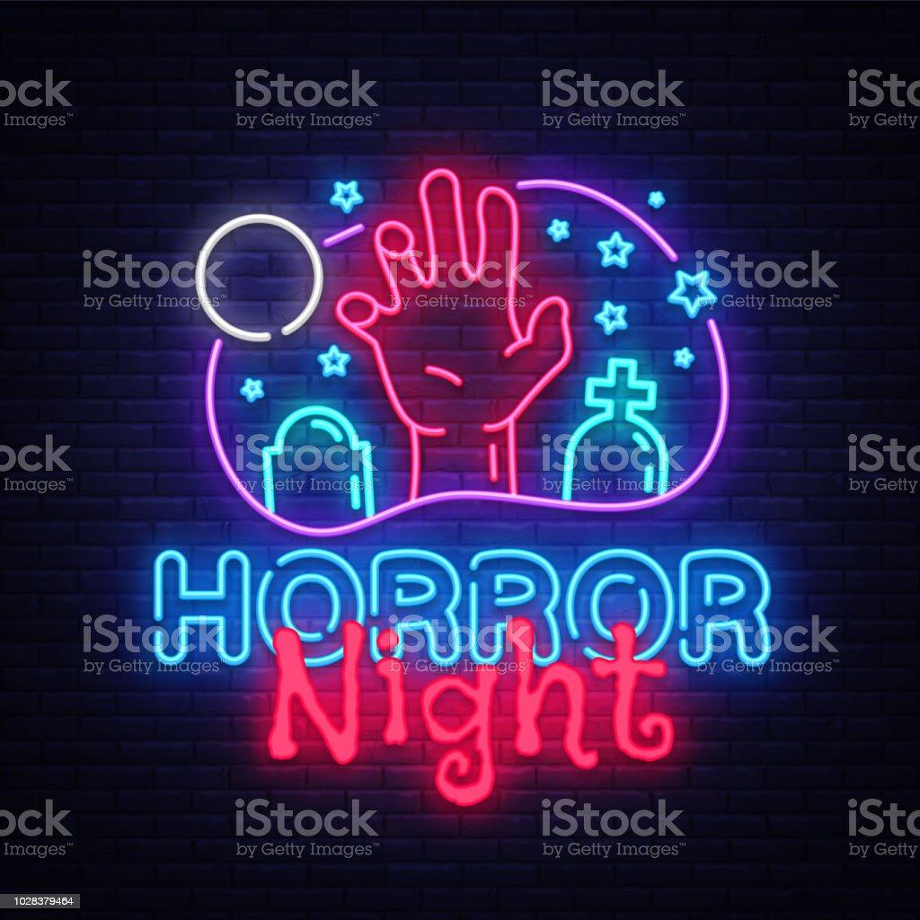 horror night neon sign vector halloween poster design template neon