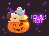 Horror Night neon sign vector. Halloween Poster Design template neon sign, Horror light banner, neon signboard, nightly bright advertising. Cute Halloween pets, cat, hamster, dog with frightened faces