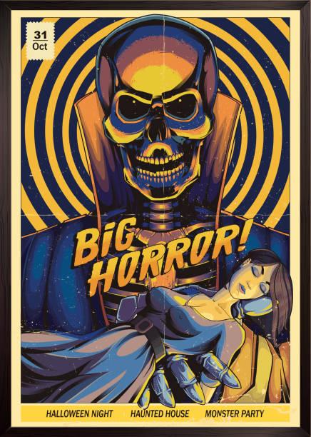 bildbanksillustrationer, clip art samt tecknat material och ikoner med skräck affisch. monster party - fasa