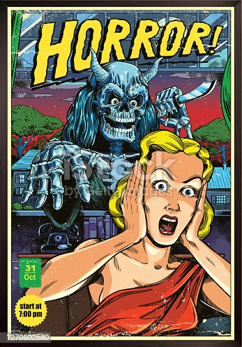 Classic horror comic book cover with screaming woman