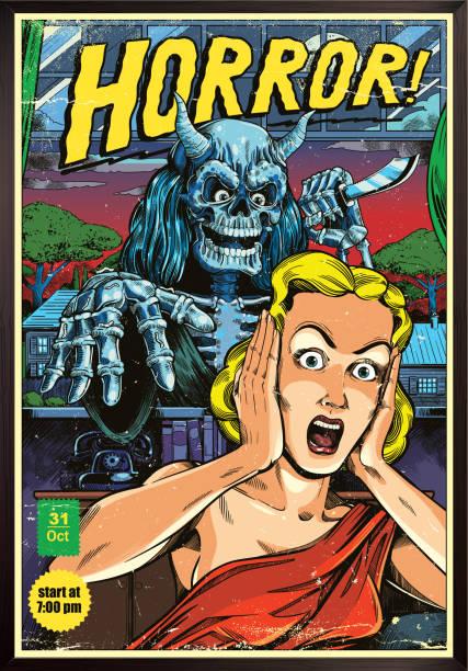 illustrazioni stock, clip art, cartoni animati e icone di tendenza di horror poster - thriller