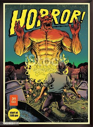 istock Horror poster 1302805111