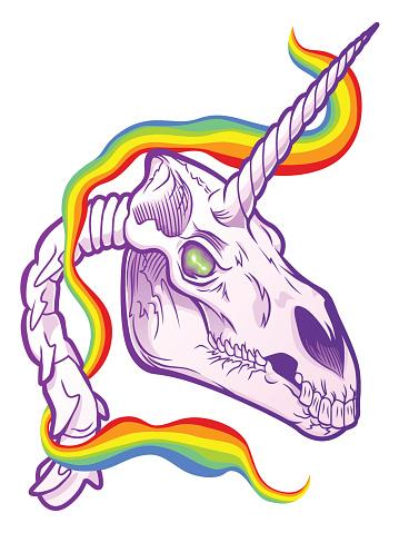 Horror unicorn skull
