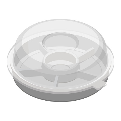 Hors d'oeuvre plate with dividers.Isometric colorful illustration.