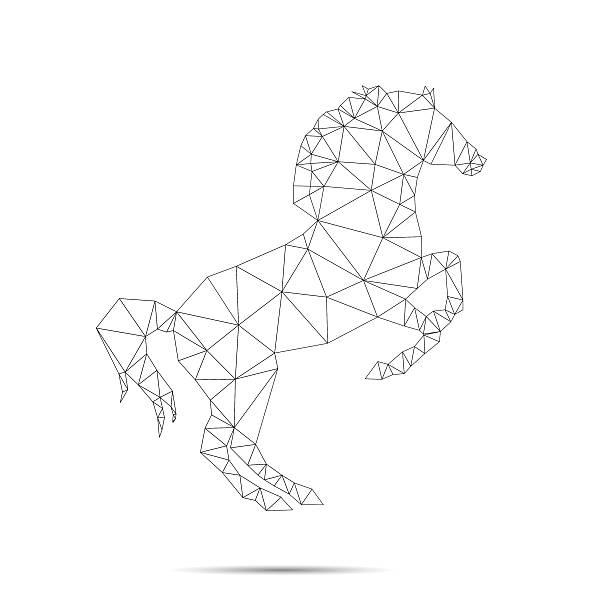 Horse Abstract Isolated On A White Backgrounds Vector Art Illustration