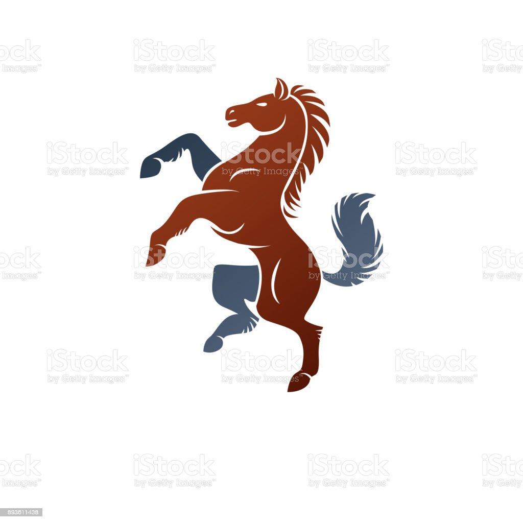 Horse ancient emblem animal element. Heraldic vector design element. Retro style label, heraldry. vector art illustration