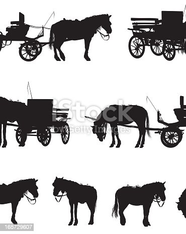 Illustration of Horse pulling carriage, horses are detachable.