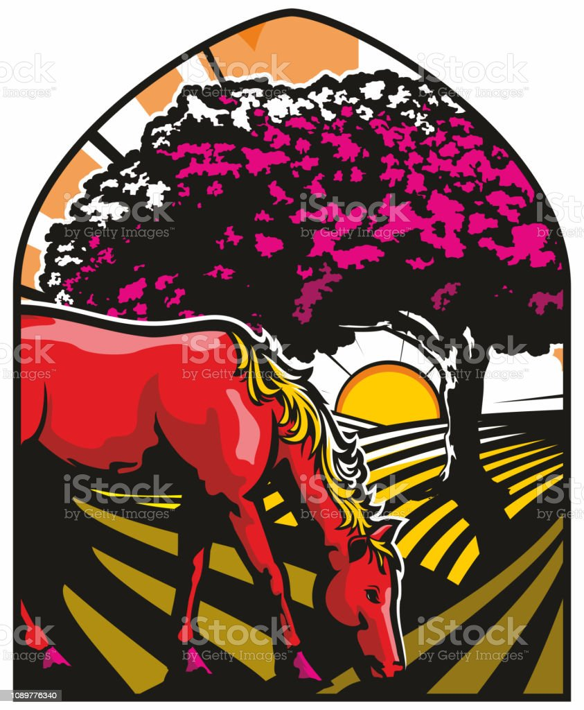 Horse and Countryside scene vector art illustration