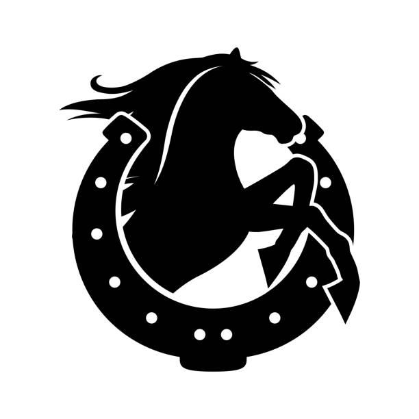 말과 말굽 - horse racing stock illustrations