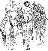 ink drawing of a horse and rider
